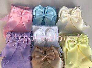 PERFECT PRINCESS Spanish Double Bow Ankle Socks. Baby/Girls/School Uniform