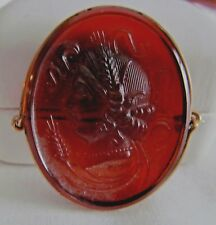 Antique Victorian Amethyst Glass Portrait CAMEO High Relief 14k Gold Brooch Pin