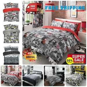 World Cities Theme Duvet Cover NYC LONDON CITY BUS SKY LINE Bedding Set All Size