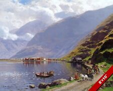 SOGNEFJORD NORWAY NORWEGIAN FJORD LANDSCAPE VIEW PAINTING ART REAL CANVAS PRINT