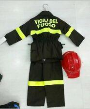 Costume Carnevale Bambino Vigile del Fuoco Pompiere Marrone Made in Italy