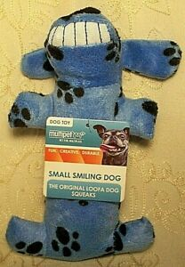 Multipet Smiling Loofa Loofha Dog Fetch Chew Crinkle Squeaky Dog Toy Blue 6 inch