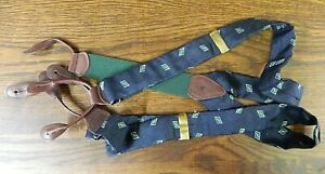"Mens Suspenders  Polo Ralph Lauren Blue Green Brown leather 50"" Silk  NWOT N#74"