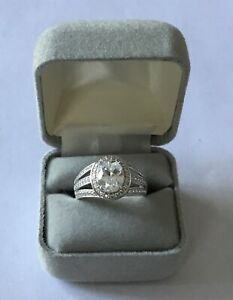 Diamonique Platinum Plated Sterling Silver CZ Anniversary Ring - Size 8 Gorgeous