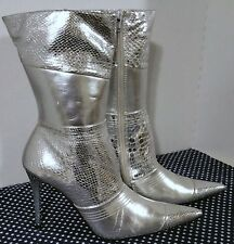 "Silver Wicked Witch,#132372,Zip Up-Pointed Toe,12"" high,Stiletto Boots,US 7.5 M"