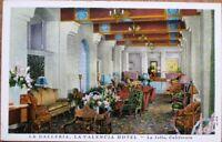 La Jolla, CA 1920 Postcard: La Valencia Hotel Interior - California Cal