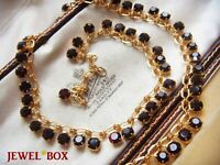 VINTAGE JEWELLERY DEEP GARNET RHINESTONE CRYSTAL DROPS GOLDEN CHAIN NECKLACE