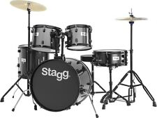 STAGG TIM120B Deluxe 5 Piece Complete Drum Set BLACK with Cymbals Stands Sticks