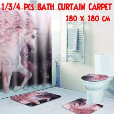 4Pcs Unicorn Bathroom Set Non-Slip Rug + Toilet Cover+Bath Mat +Shower  c