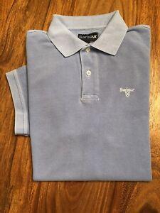 Barbour Short Sleeved Piqué Polo Shirt, Pale Blue Size XL, Good Condition