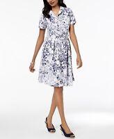 CHARTER CLUB Women's Belted Short Sleeve Floral Dress Size 12 14 16 $99 (J)