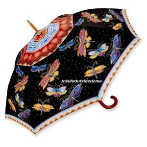 Laurel Burch STICK Umbrella Dragonfly Auto Open Lg Canopy Nw RETIRED Almost Gone