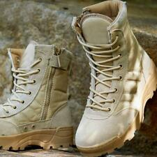 Mens Army Combat Boots Canvas Leather Shoes Military Tactical Outdoor Warm Size