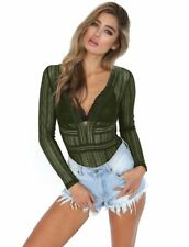 Womens Deep V Neck Sexy Bodysuit Lace Party Ladies Backless Leotard Tops Blouse