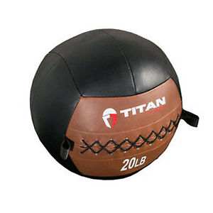 Titan 20 LB Soft Leather Medicine Wall Ball Core Workout Cardio Muscle Exercises