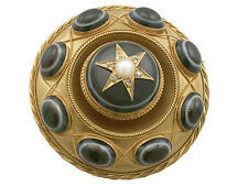 Victorian Agate and Seed Pearl, Diamond and 20k Yellow Gold Mourning Brooch