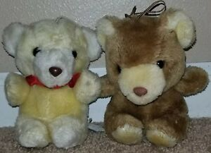 Vintage EDEN Plush Bear Lot of Two. White & Brown.  Noise Maker in Each