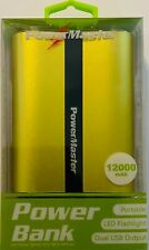 Power Bank Powermaster 12000mah LED Flashlight Dual USB Charger Lime Green