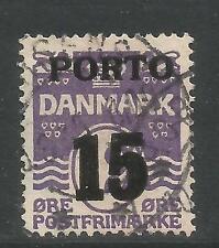 Denmark 1934 Wavy Lines 15o violet Postage Due (J38) used