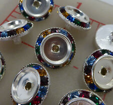 "12 vintage silver metal 16mm multi-color rhinestone buttons setting 5/8"" 406"