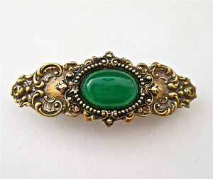 GREEN JADE CABOCHON & BRASS OX ORNATE VICTORIAN STYLE BARRETTE ~ LUSCIOUS GREEN!