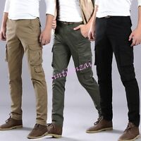 Fashion Mens casual Slim Fit Army Straight cargo overall Trouser Pockets Pant