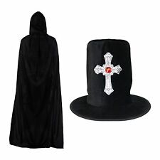 Black Halloween Gothic Silver Cross Hat & Hooded Polyester Cape Set