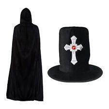 Halloween Nero Gotico Silver Cross Hat & con cappuccio poliestere Cape Set