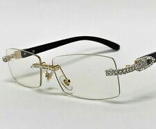 For Men's Sunglasses Brown Lens Rhinestone Crystal Buffs Rimless Frame Women NEW