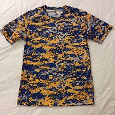 Badger Sport Adult Digital Camo Short Sleeve T-Shirt Blue/Gold Dri-Fit Small