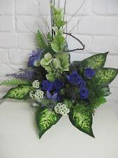 Deko Bouquet 50 cm Strauß blau künstliche Seidenblumen Blumen künstlich wie echt