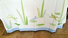 """POTTERY BARN KIDS SHOWER CURTAIN FROGS & FERNS 74X72"""" WHITE BLUE GREEN PRE-OWNED"""