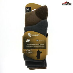 Lorpen Cold Weather Sock System, Medium, Brown ~ New