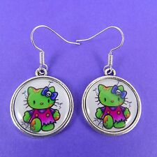ZOMBIE HELLO KITTY EARRINGS psychobilly goth emo punk kitsch kawaii sanrio