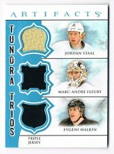 2012-13 Artifacts Tundra Trios Jersey J. Staal Marc-Andre Fleury Evgeny Malkin