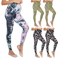US Women Maternity Leggings Seamless Print Long Pants Stretch Pregnancy Trousers