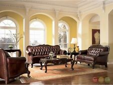 Victoria Traditional Brown Genuine Leather Tufted Sofa LoveSeat, Chair Couch Set