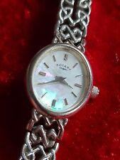 Ladies Oval White Gold Plated S/Steel ROTARY Quartz Bracelet Watch LB77893