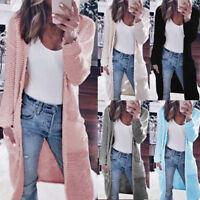 Women Loose Long Pocket Coat Long Sleeve Cardigan Sweater Outwear Solid Casual