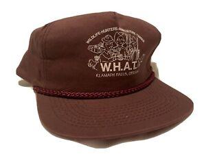 """vintage """"WHAT"""" 1980s trucker hat- dark brown"""