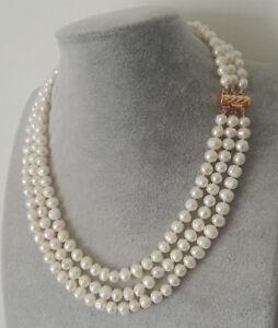 3 Reihen 7-8mm weißes Süßwasser Perle Halskette, 17-19 inch
