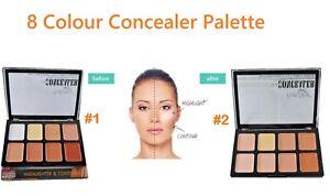 Face Makeup Concealer Cream Contour Palette Bronzer Highlighter Set 8 Colours UK