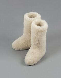 Size 8 (42 EU) WHITE CALF TALL MENS WOOL BOOTS WARM NATURAL SLIPPERS SHEEP