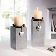 2 x Kerzenhalter Herz Kerzenstände Dekosäule Holz silber Windlicht grau Deko