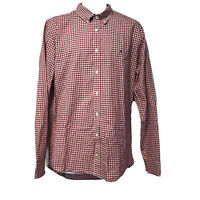 Tommy Hilfiger Slim Fit Red Gingham Plaid Checker Button Front Shirt Men's XL