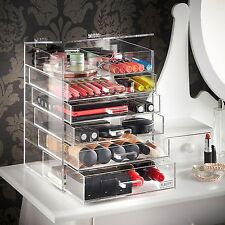 Makeup Organizer Countertop Acrylic Cosmetic Drawers Cube Storage Clear Plastic