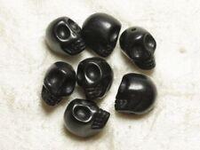 10pc - Perles Crâne Tête de Mort 12mm Noir  4558550034892