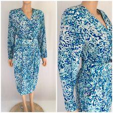 Vintage 80s Silk Wiggle Pencil Dress Belted Secretary Draped Pockets Gillian M/L
