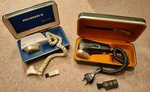 2 x Vintage Philips Philishave Triple Head Shavers boxed working de luxe 99p NR