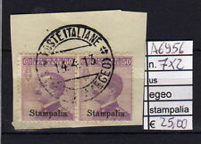 FRANCOBOLLI COLONIE EGEO STAMPALIA USATI N°7X2 (A6956)